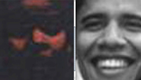 "Close-up of 1975 Battle of Boston Weather Underground Cover Boy ""Obama"" compared with ""Obama"" at Harvard Law School circa 1990.  Despite the wicked digital wizardry of a red mask, forehead occlusion, application of fake sunglasses, disguise of nose and nostrils, and black-out of lower cheeks, mouth and chin, ""Obama's"" face emerges."