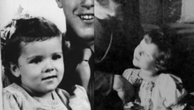 """Left: Fake """"Obama"""" mother Stanley Ann with her fake father Stanley Dunham, Dreams From My Father dustjacket.  Right: aka Obama's actual mother, young Braun-Hitler with her Papa Adolf Hitler."""